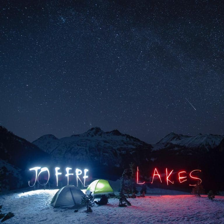 night sky in winter camping